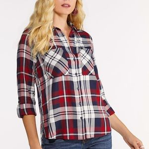 Cato Rayon Red And Navy Plaid Flannel Plus Size
